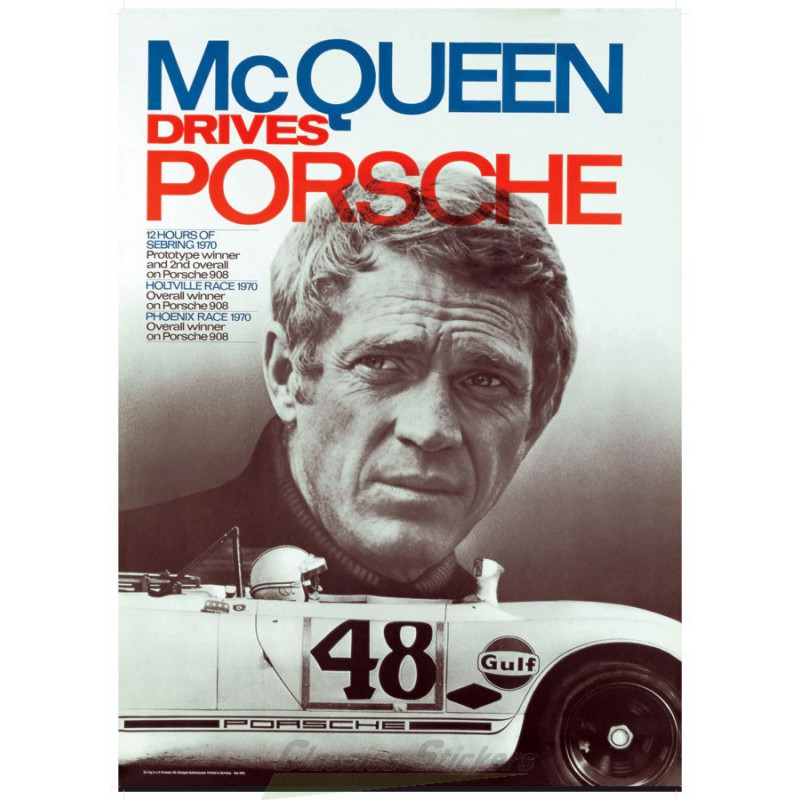 affiche steve mc queen porsche. Black Bedroom Furniture Sets. Home Design Ideas