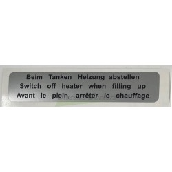 Switch off heater when filling up label