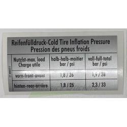 """étiquette """"Pression des pneus froids"""""""