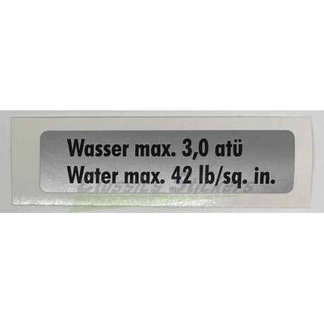 """étiquette """"Water max 42 lb"""""""