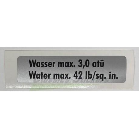 """Water max 42 lb"" sticker"