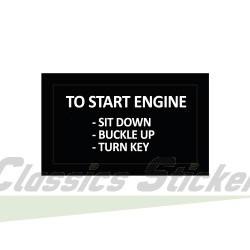 Start engine sticker