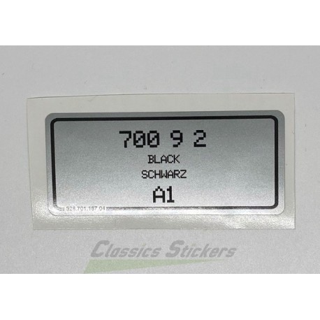 Color code label for Porsche 911 and 928
