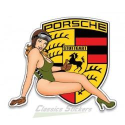 Vintage Pinup Porsche Sticker