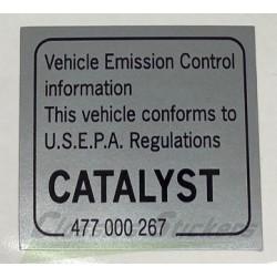 Etiquette convertisseur catalytique