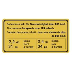 Pression des pneus 65-72, 200km/h
