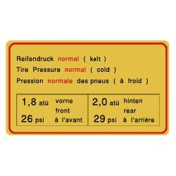 Pression des pneus standard 911S